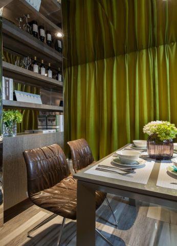 餐厅黄色窗帘现代风格装修图片