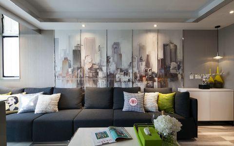 客厅黑色沙发现代风格装潢图片