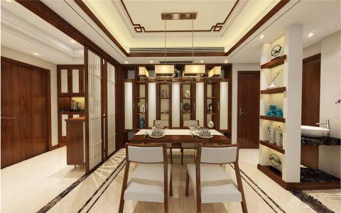 餐厅咖啡色隔断新中式风格装潢设计图片