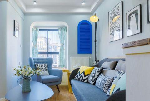 客厅蓝色照片墙北欧风格装潢效果图