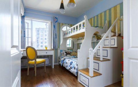 卧室蓝色窗帘北欧风格装修图片