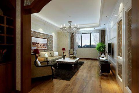 客厅白色吊顶简欧风格装修图片