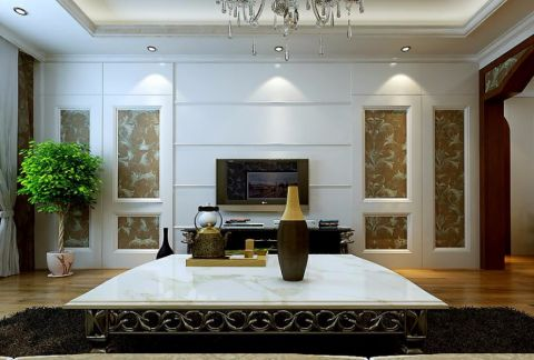 客厅白色电视背景墙简欧风格装潢图片