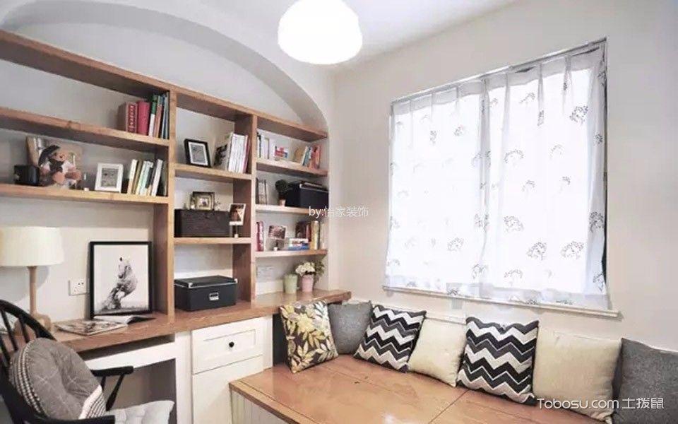 书房白色窗帘混搭风格装修设计图片