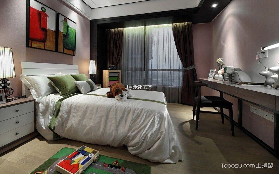 卧室白色床简中风格装潢效果图