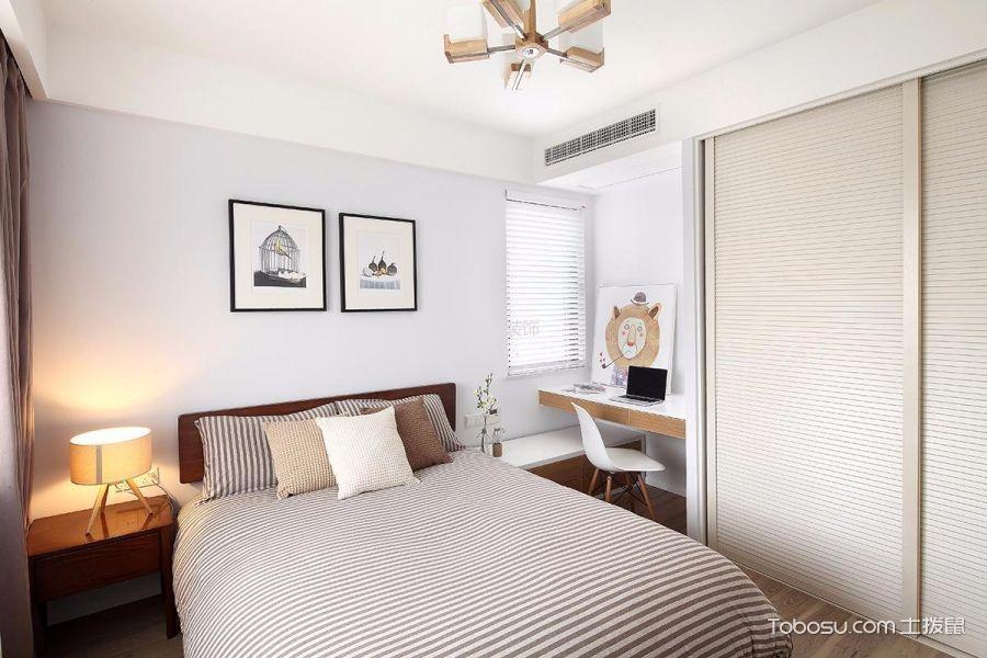 卧室白色照片墙现代简约风格装潢图片