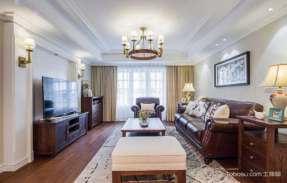 客厅咖啡色电视柜美式风格装饰效果图