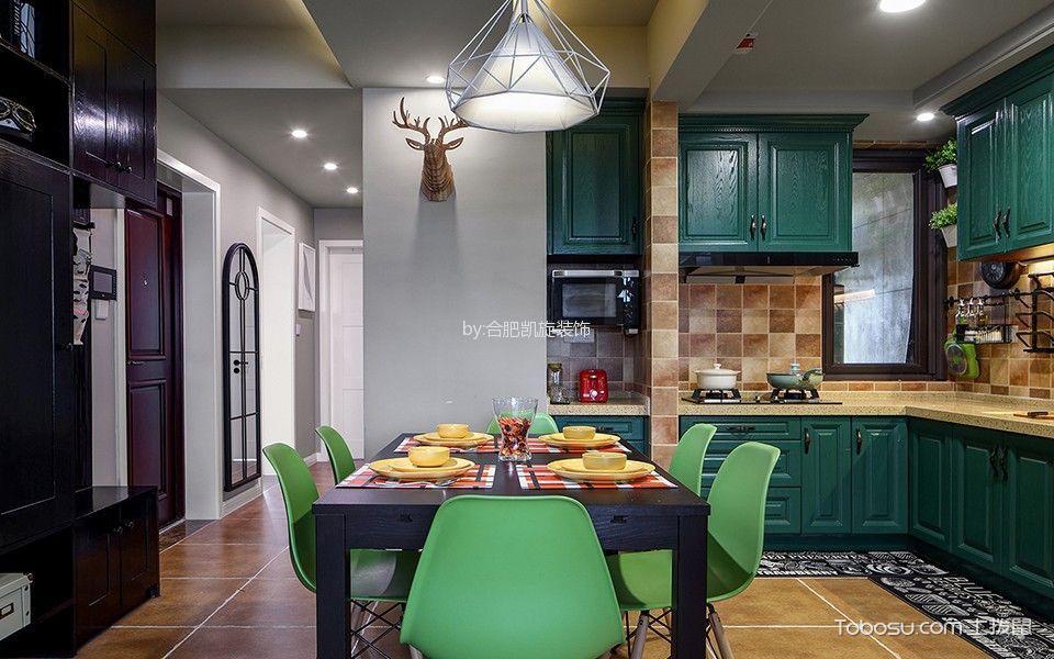 厨房绿色橱柜简单风格效果图