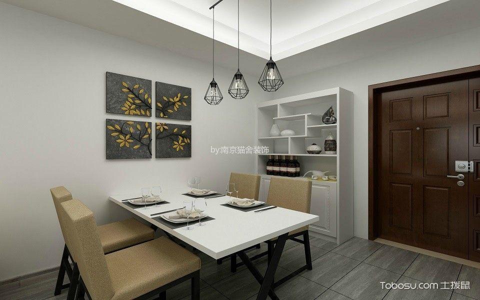 餐厅白色餐桌简中风格装潢效果图