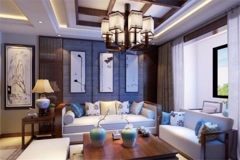 中式风格104平米楼房室内装修效果图