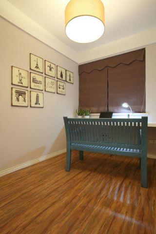 书房咖啡色窗帘简约风格装饰设计图片