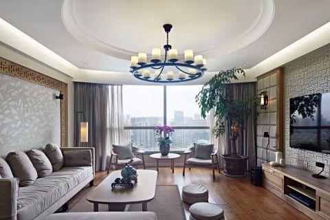 客厅白色吊顶现代中式风格装饰设计图片