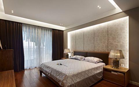 卧室咖啡色窗帘现代中式风格装潢设计图片