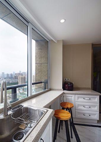 厨房白色橱柜现代中式风格效果图