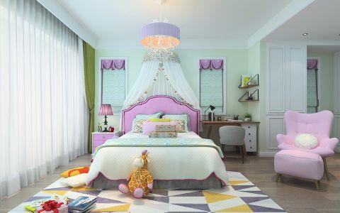 儿童房绿色窗帘北欧风格效果图