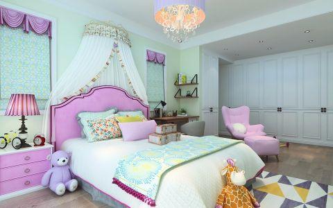 儿童房粉色床北欧风格装修效果图