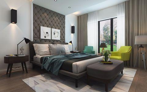 卧室咖啡色窗帘北欧风格装饰效果图