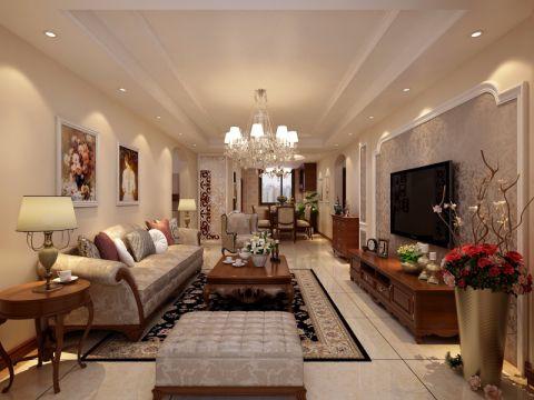 客厅咖啡色电视柜欧式风格装修设计图片