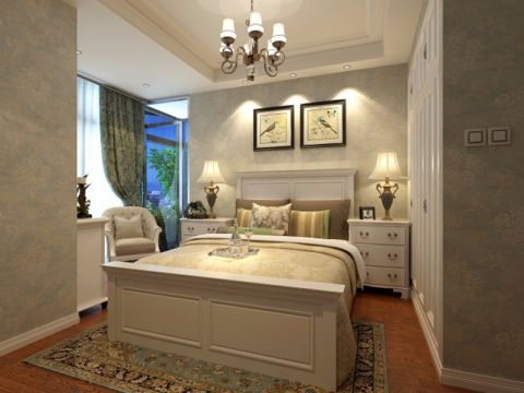 卧室白色床头柜简欧风格装修效果图