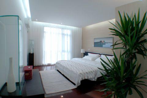 卧室白色窗帘简约风格装修图片
