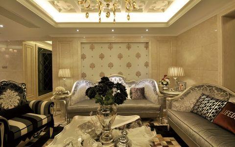 客厅黄色背景墙欧式风格装饰图片