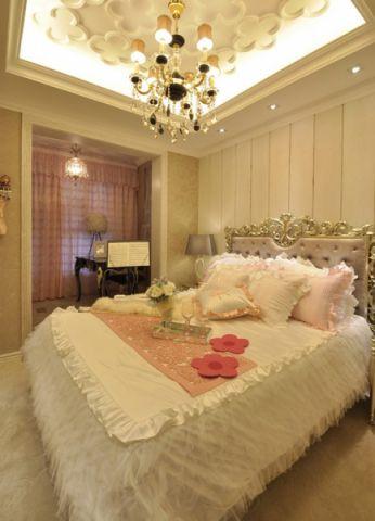 卧室粉色窗帘欧式风格装饰设计图片