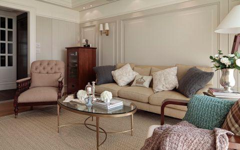 客厅黄色茶几美式风格装潢设计图片