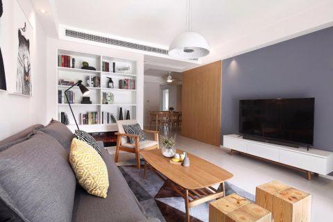 客厅白色吊顶现代简约风格装潢效果图