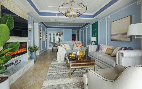 客厅白色吊顶美式风格装修设计图片