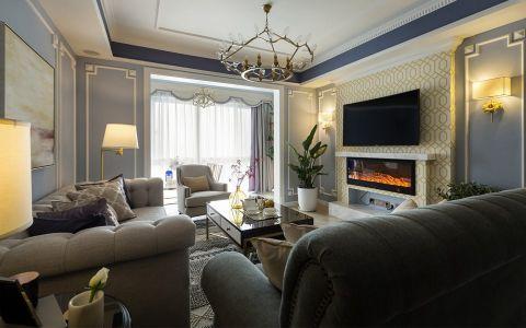 客厅灰色沙发美式风格装饰设计图片