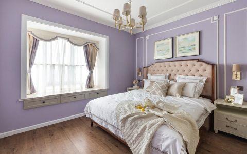 卧室紫色背景墙美式风格效果图