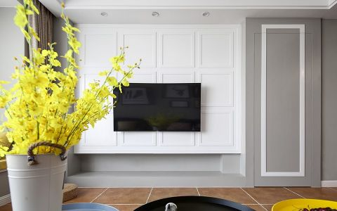 客厅咖啡色窗帘简单风格装修设计图片
