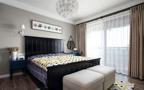 卧室黑色床简单风格装潢设计图片