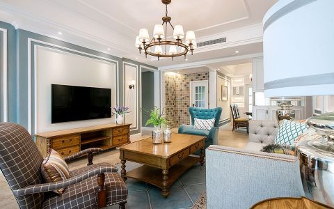 客厅白色吊顶美式风格装潢图片