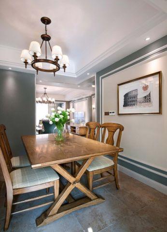 餐厅咖啡色餐桌美式风格装修设计图片