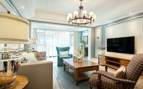 客厅白色吊顶美式风格装修效果图
