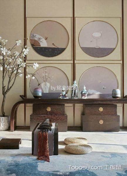 书房咖啡色书桌新中式风格装饰设计图片