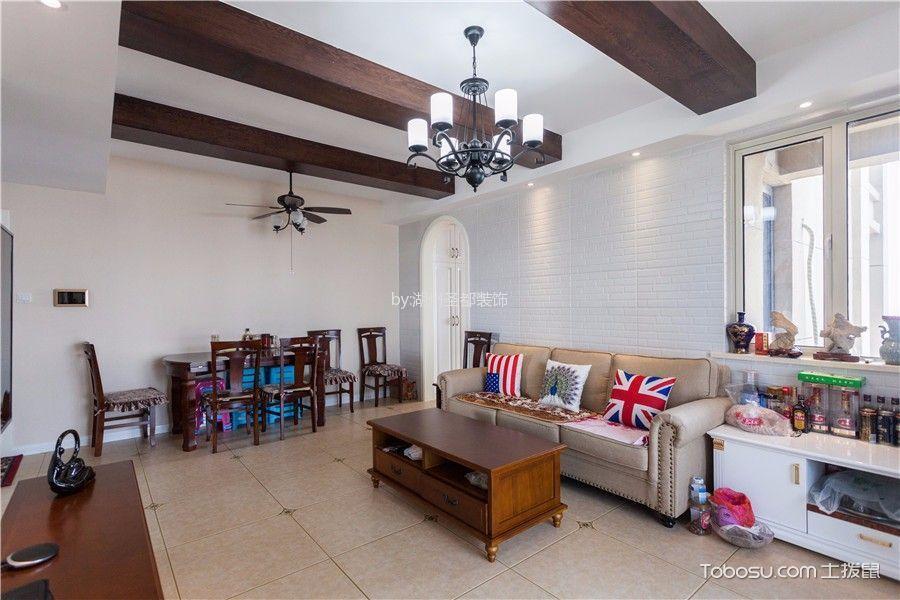 美式风格85平米两室两厅新房装修效果图