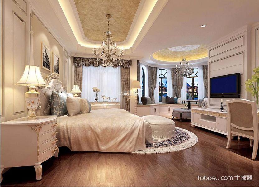 卧室白色床法式风格装潢图片