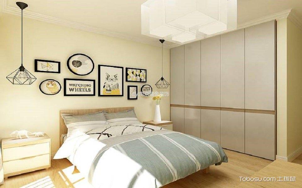 卧室咖啡色床北欧风格装潢效果图