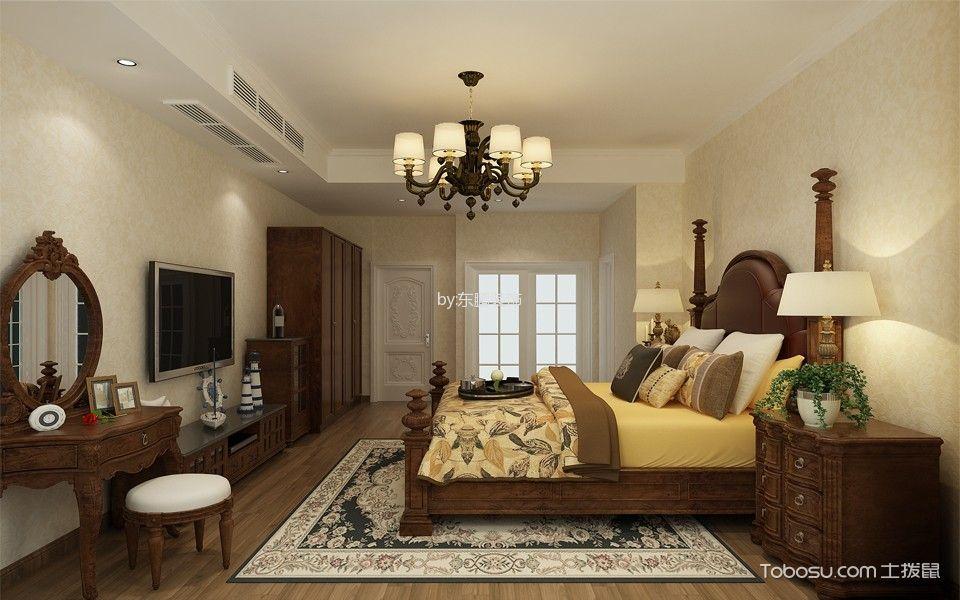 卧室咖啡色电视柜美式风格装饰图片