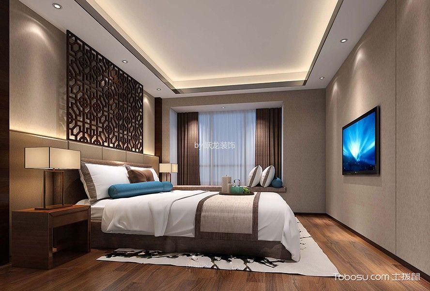 卧室咖啡色地板砖新中式风格装饰效果图