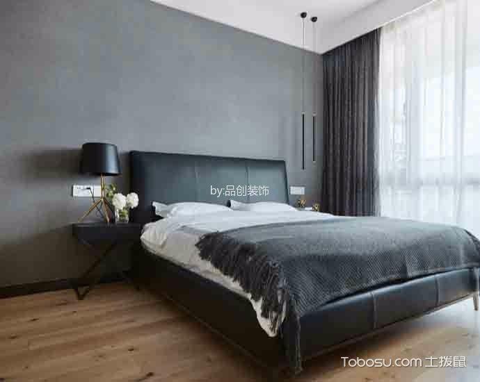 卧室黑色床简单风格装修设计图片