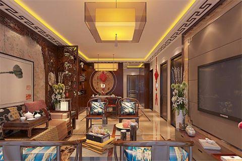 中式风格92平米楼房室内装修效果图