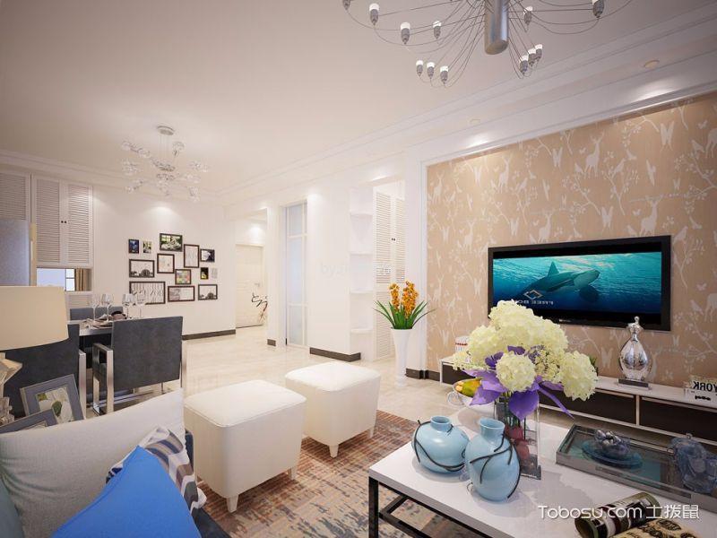 客厅 背景墙_现代简约风格100平米两室两厅新房装修效果图