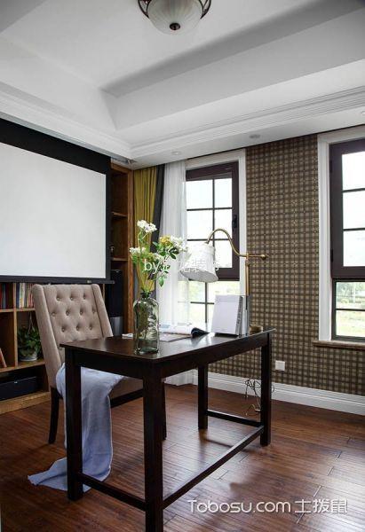 书房咖啡色地板砖美式风格装饰设计图片