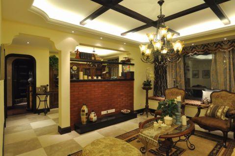 美式风格100平米三居室室内装修效果图