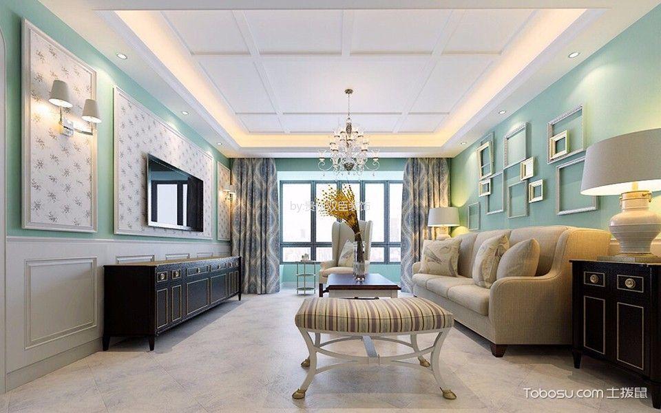 客厅白色吊顶田园风格装潢设计图片