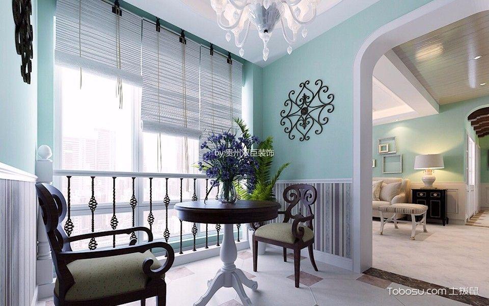 阳台米色窗帘田园风格装饰效果图