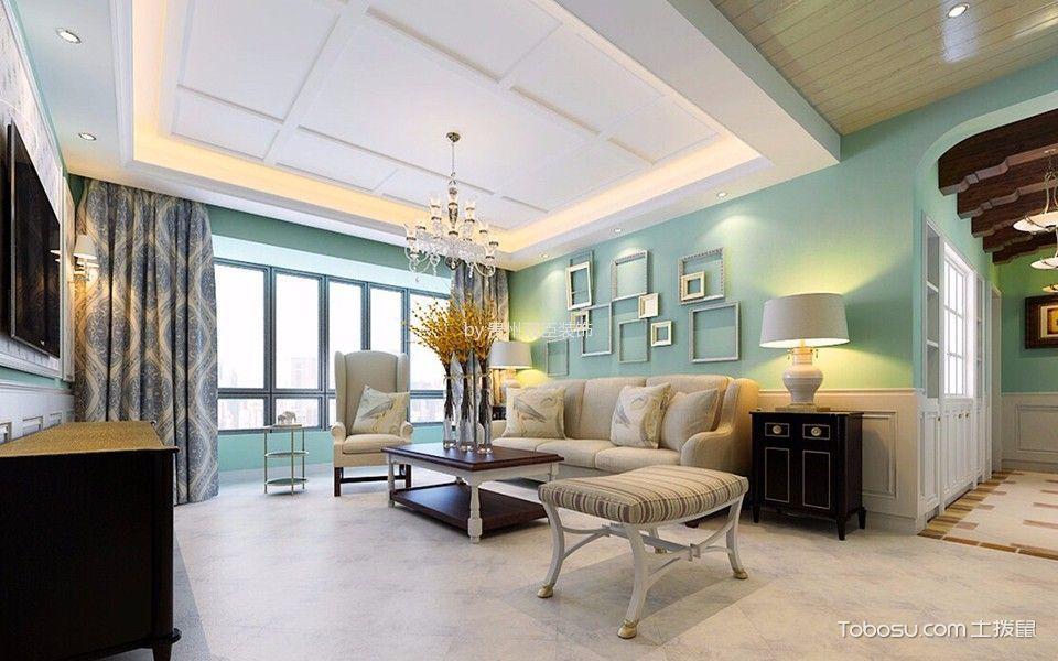 客厅白色吊顶田园风格装潢效果图
